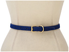 LAUREN Ralph Lauren - Skinny Haircalf Belt With Roller Buckle Dog Collar Keeper (Cobalt)