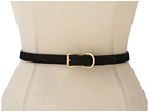 LAUREN Ralph Lauren - Skinny Haircalf Belt With Roller Buckle Dog Collar Keeper (Black)