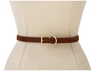 LAUREN Ralph Lauren - Skinny Haircalf Belt With Roller Buckle Dog Collar Keeper (Nutmeg)