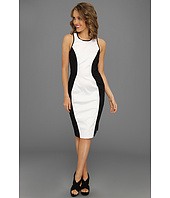 Maggy London - Sleeveless Color Blocked Cotton Sateen Dress