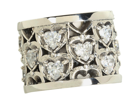 King Baby Studio Heart Patterned Ring with CZ Stones