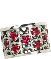 King Baby Studio - Heart Patterned Ring with Garnet Stones