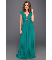 Badgley Mischka - Beaded V-Neck Gown
