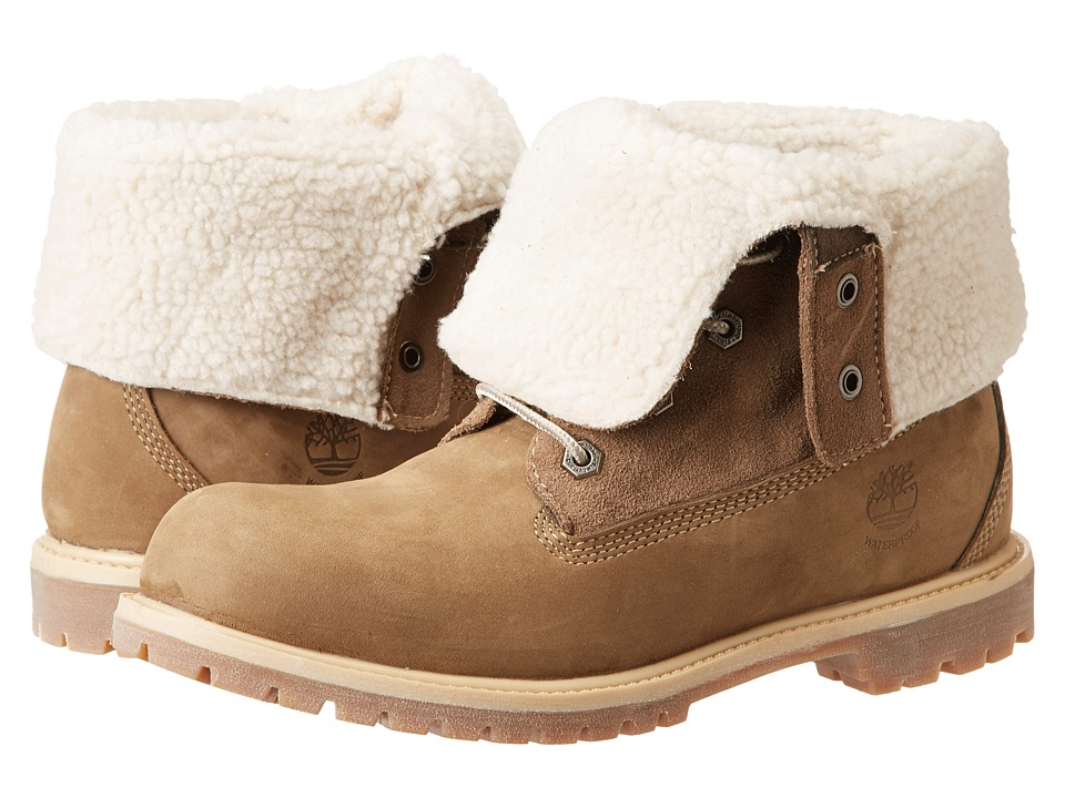 Timberland Authentics Teddy Fleece Fold Down Taupe Womens Lace up Boots