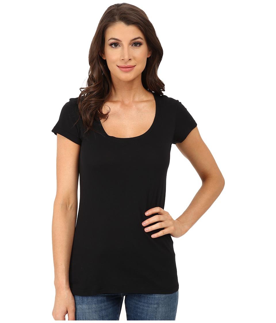Allen Allen - Basic Cap Sleeve Scoop Neck Tee (Black) Womens T Shirt