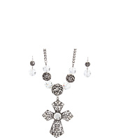 Nocona - Crystal Stone Cross Necklace/Earring Set
