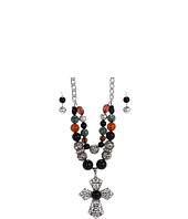 Nocona - Double Strand Beaded Cross Necklace/Earring Set