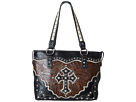 M&F Western Tooled W/Cross Applique Tote (Black/Brown)