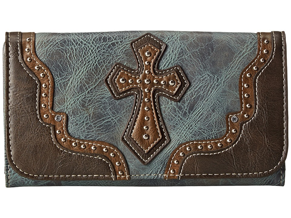 M&F Western - Cross Wallet (Blue) Wallet Handbags