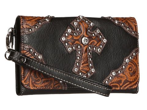 M&F Western Tooled Cross Wristlet Wallet