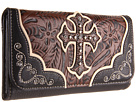 M&F Western Tooled w/ Cross Applique Wallet (Black/Brown)