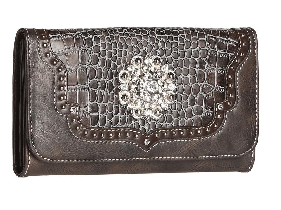 MampF Western Large Concho Croco Print Wallet Blue Wallet Handbags