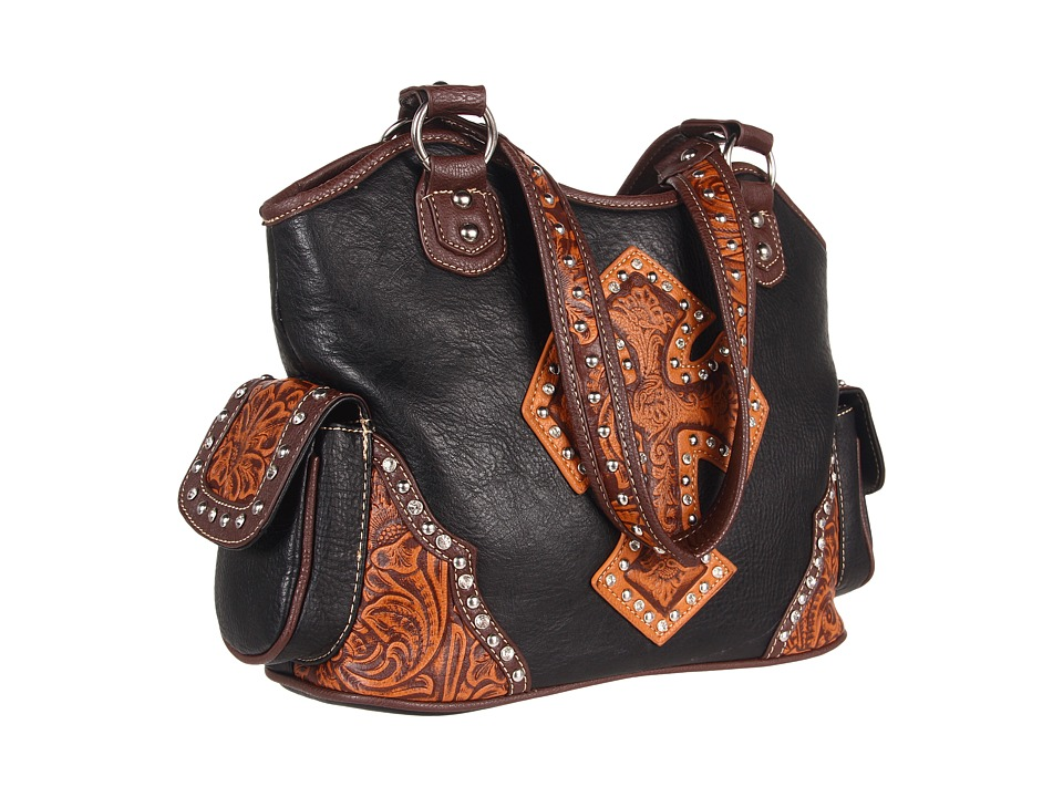 M&F Western - Tooled Cross Shoulder Bag (Black/Tan) Shoulder Handbags