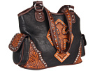 M&F Western Tooled Cross Shoulder Bag (Black/Tan)