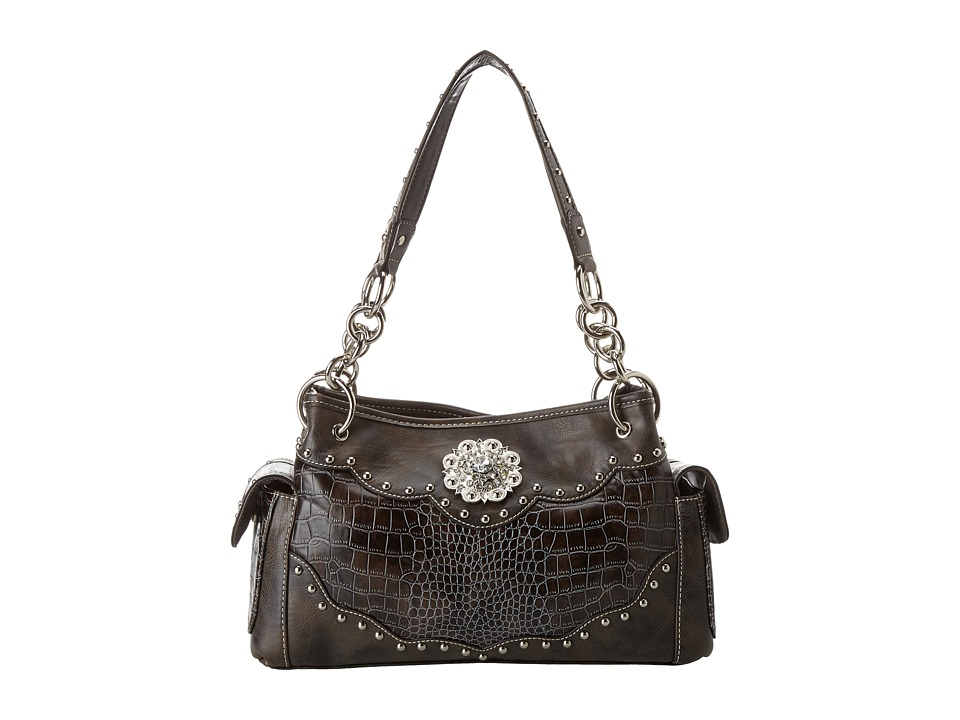 M&F Western - Large Concho Croco Print Satchel (Handgun Metal) Satchel Handbags