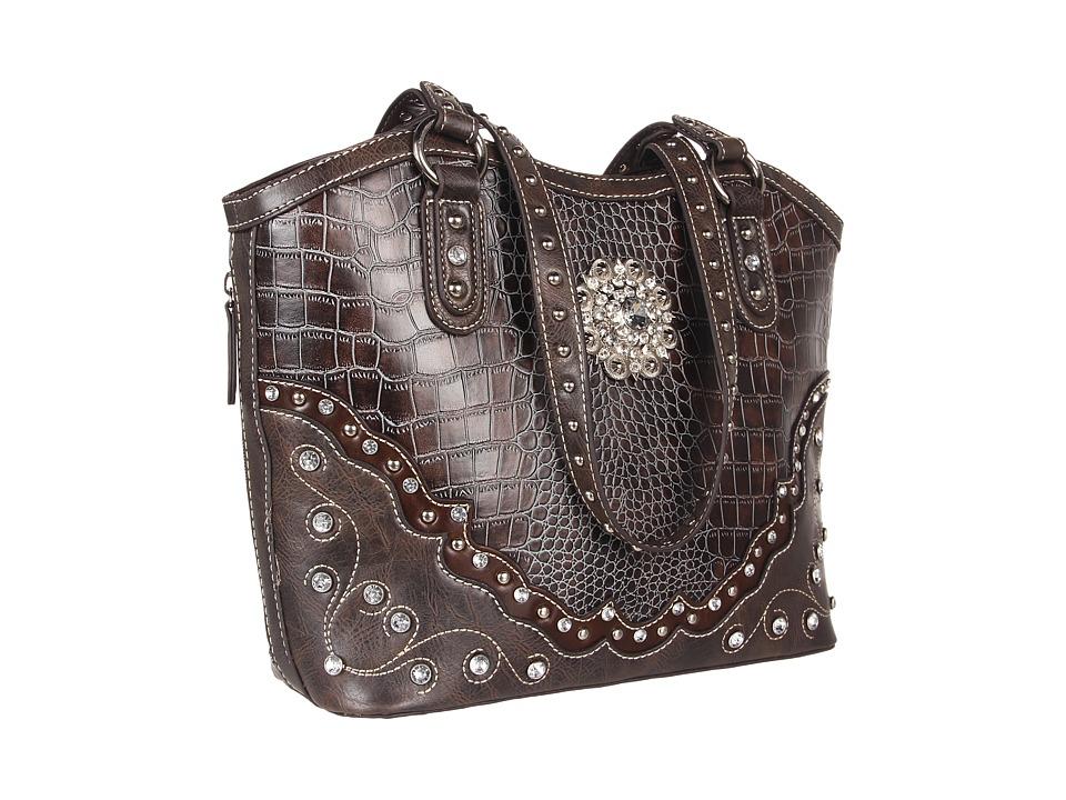 M & F Western - Large Concho Croco Print Bucket Handbag (Handgun Metal) Shoulder Handbags