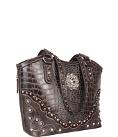 M&F Western - Large Concho Croco Print Bucket Handbag