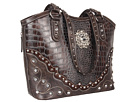 M&F Western Large Concho Croco Print Bucket Handbag (Handgun Metal)