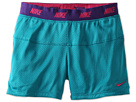 Nike Kids - Girls' Sport Mesh Rev Short 4 (Little Kids/Big Kids) (Tropical Teal/Tropical Teal/Pink Force) - Apparel