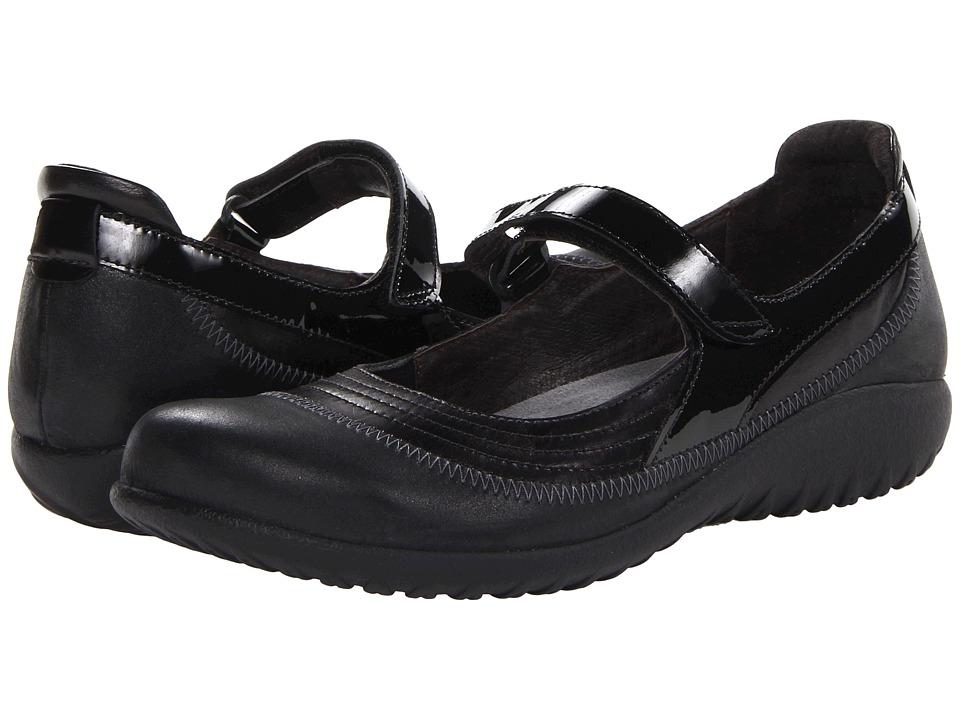 Naot Footwear Kirei (Black Madras Leather/Shiny Black Leather/Black Patent) Maryjane Shoes