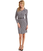 Anne Klein - Diamond Print Belted Dress