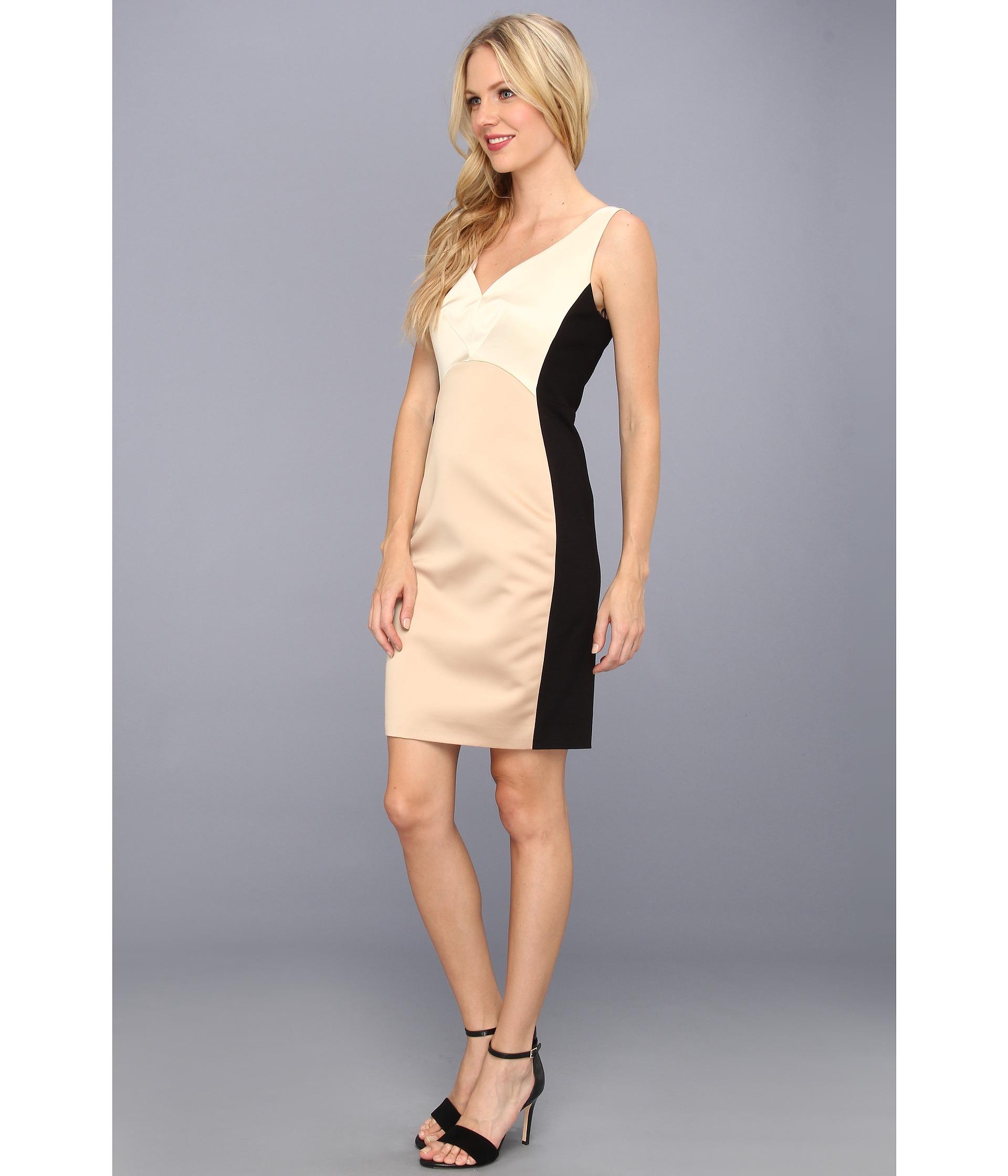 Badgley Mischka Color Block Sleeveless Dress Gold/Black