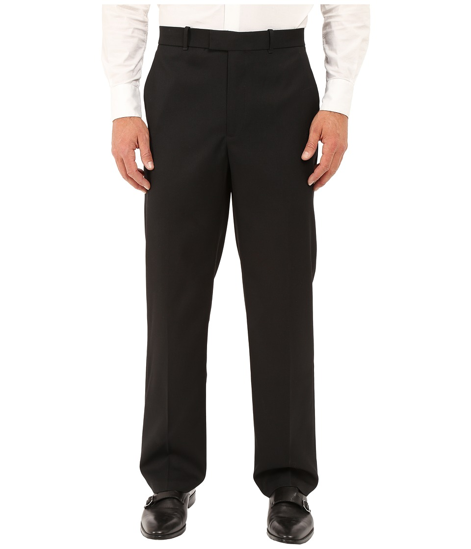 Perry Ellis Portfolio - Classic Fit Flat Front Sharkskin Pant (Black Ice) Mens Dress Pants