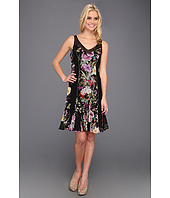 Badgley Mischka - Floral Fit N Flare Silk Dress