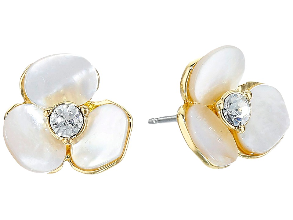 Kate Spade New York - Disco Pansy Studs (Cream/Clear) Earring