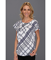 Anne Klein - Plaid Print S/S Blouse