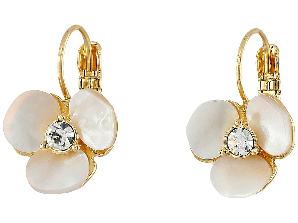 Kate Spade New York - Disco Pansy Leverbacks (Cream/Clear) Earring
