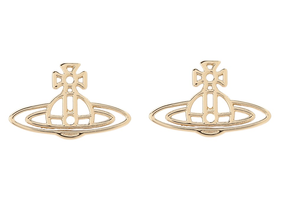 Vivienne Westwood - Thin Lines Flat Orn Stud Earrings (Yellow Gold/Plain) Earring