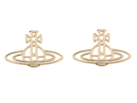 Vivienne Westwood Thin Lines Flat Orn Stud Earrings - Yellow Gold/Plain