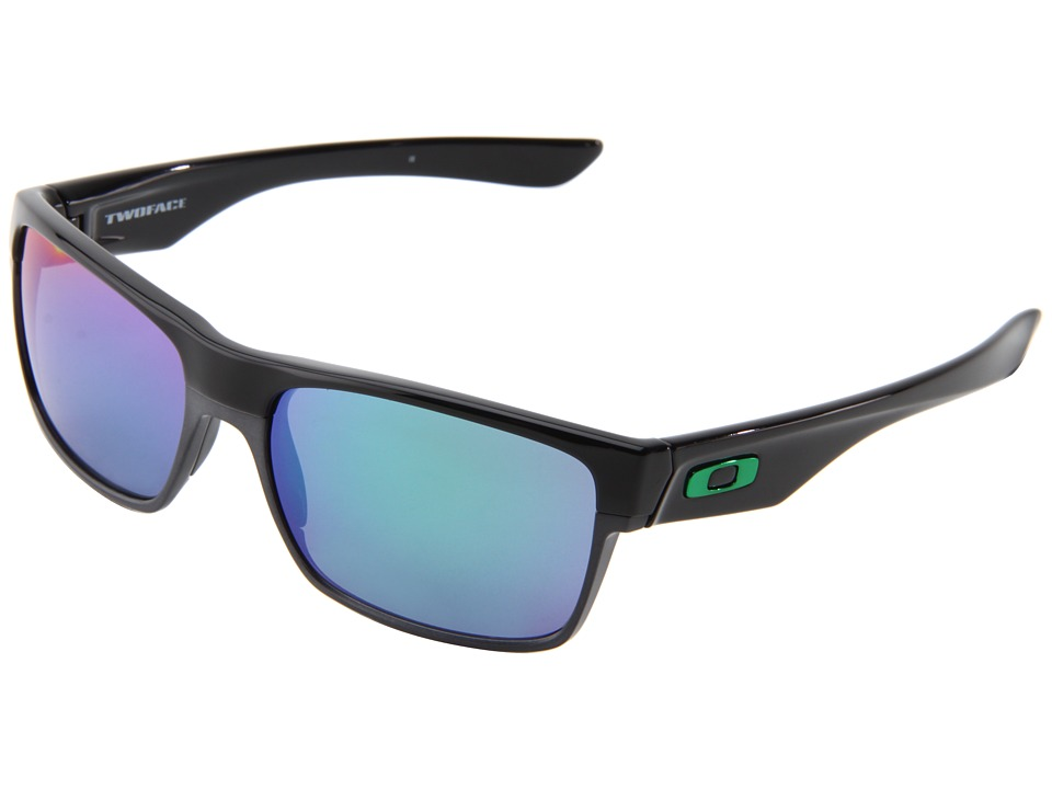 Oakley Two Face (Polished Black/Jade Iridium) Sport Sungl...