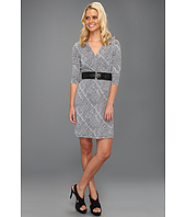 Ellen Tracy - 3/4 Sleeve Faux Wrap Dress