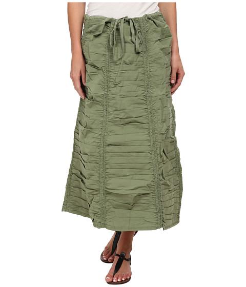 XCVI Stretch Poplin Double Shirred Panel Skirt - Meadow