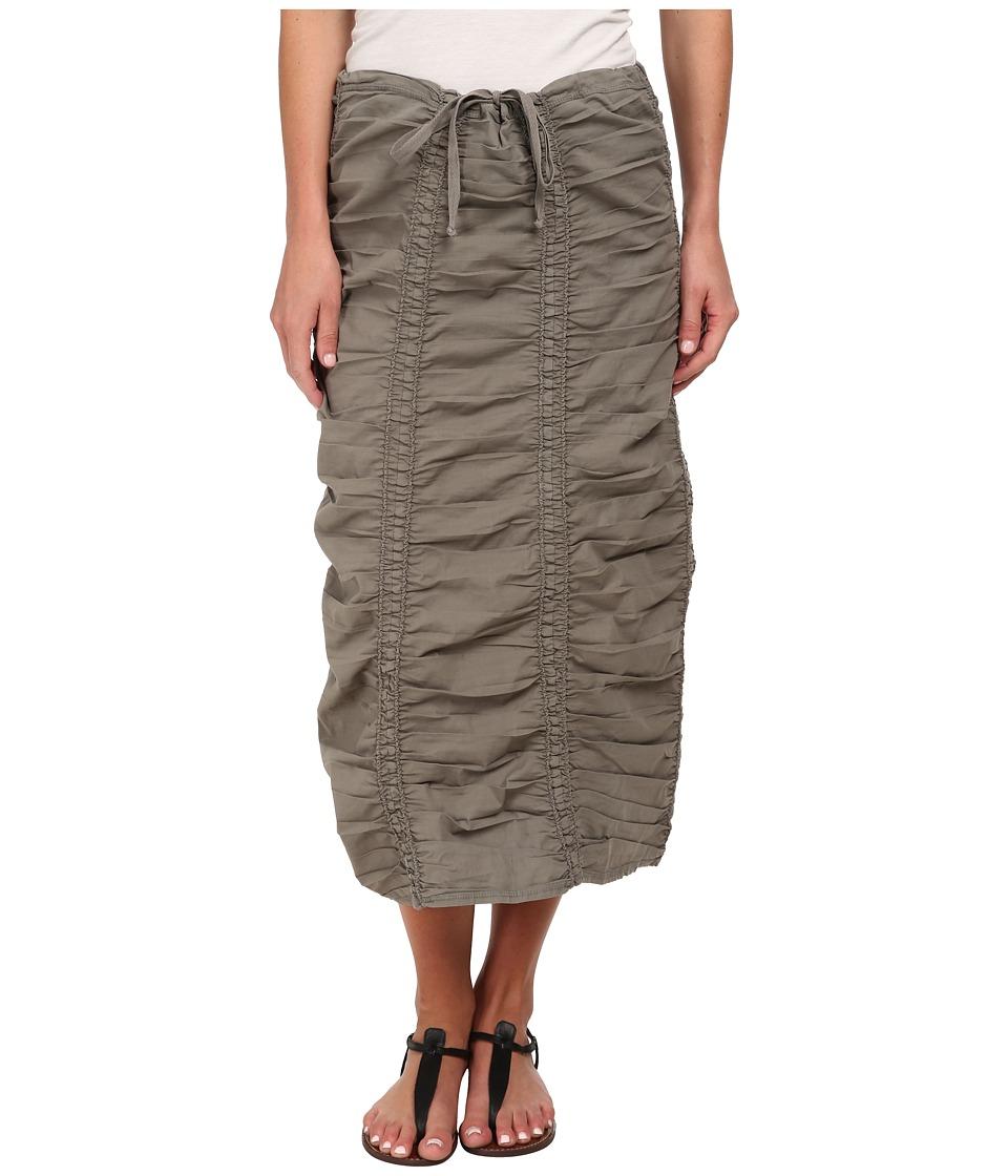 XCVI Stretch Poplin Double Shirred Panel Skirt (Moonbeam) Women