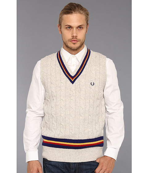 search fred perry knitted tennis sweater vest moonmist marl. Black Bedroom Furniture Sets. Home Design Ideas