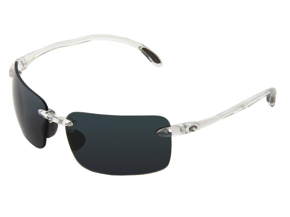Costa Cayan 580 Plastic Crystal/Gray 580 Plastic Lens Sport Sunglasses