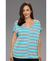 DKNY Jeans - Plus Size Shirred Shoulder Stripe Top