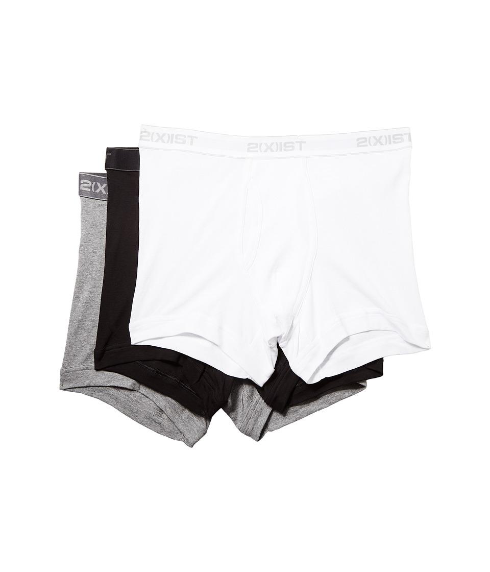 2XIST 3 Pack ESSENTIAL Boxer Briefs White/Black/Heather/Grey Mens Underwear