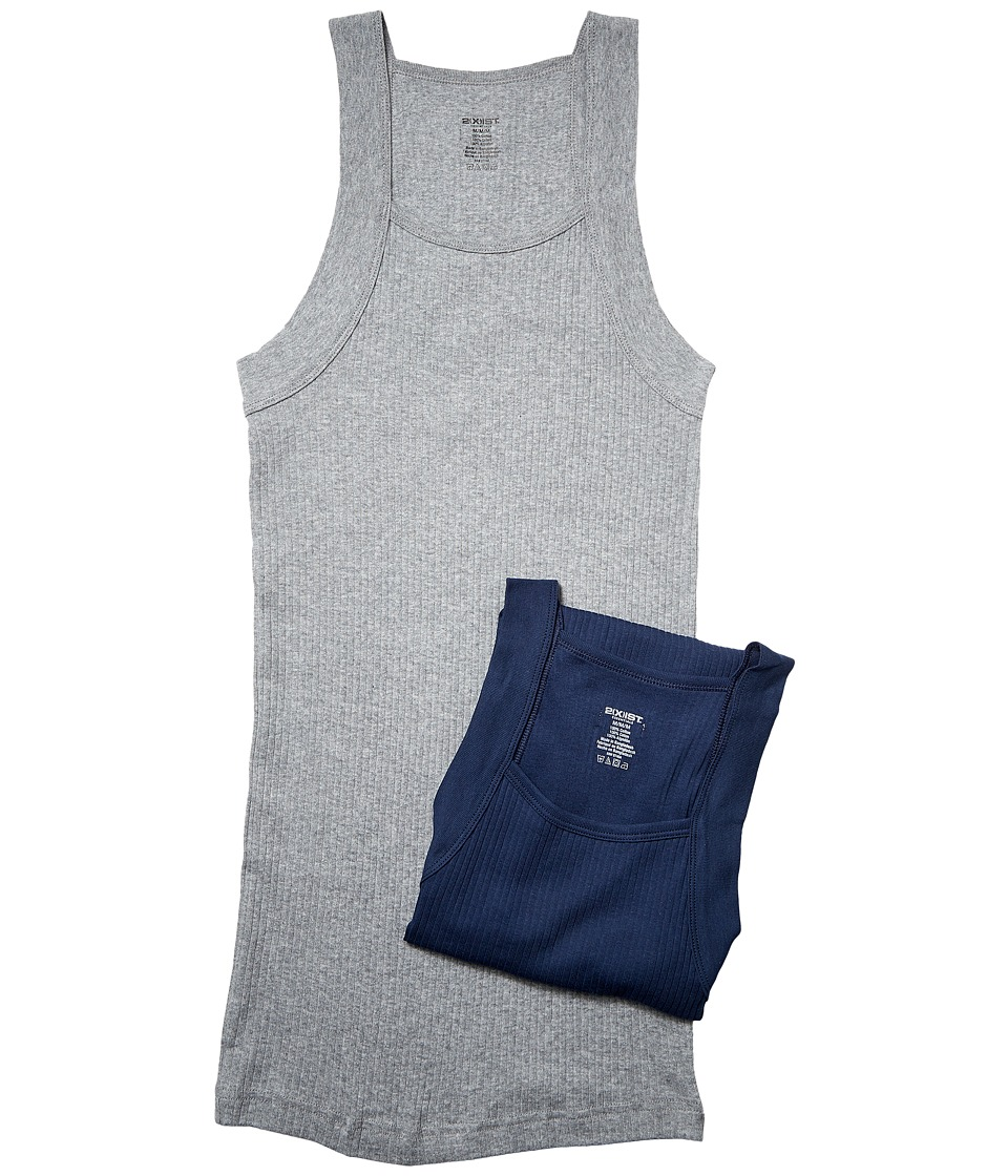 2XIST 2 Pack ESSENTIAL Square Cut Tank Grey/Navy Mens Underwear