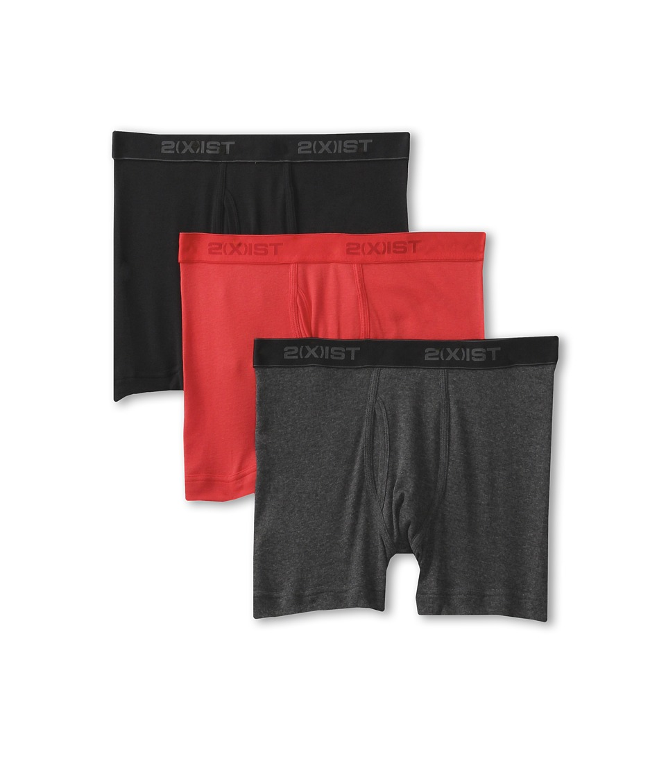 2XIST 3 Pack ESSENTIAL Boxer Briefs Black/Charcoal/Red Mens Underwear