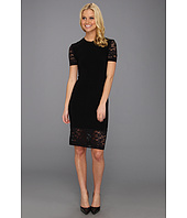 KAMALIKULTURE - Lace Short Sleeve Crew Neck Dress To Knee