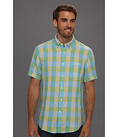 Perry Ellis - Regular Fit Linen Exploded Check S/S Shirt