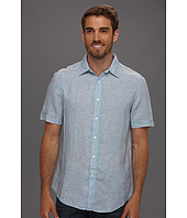 Perry Ellis - Regular Fit Linen Plain Stripe S/S Shirt