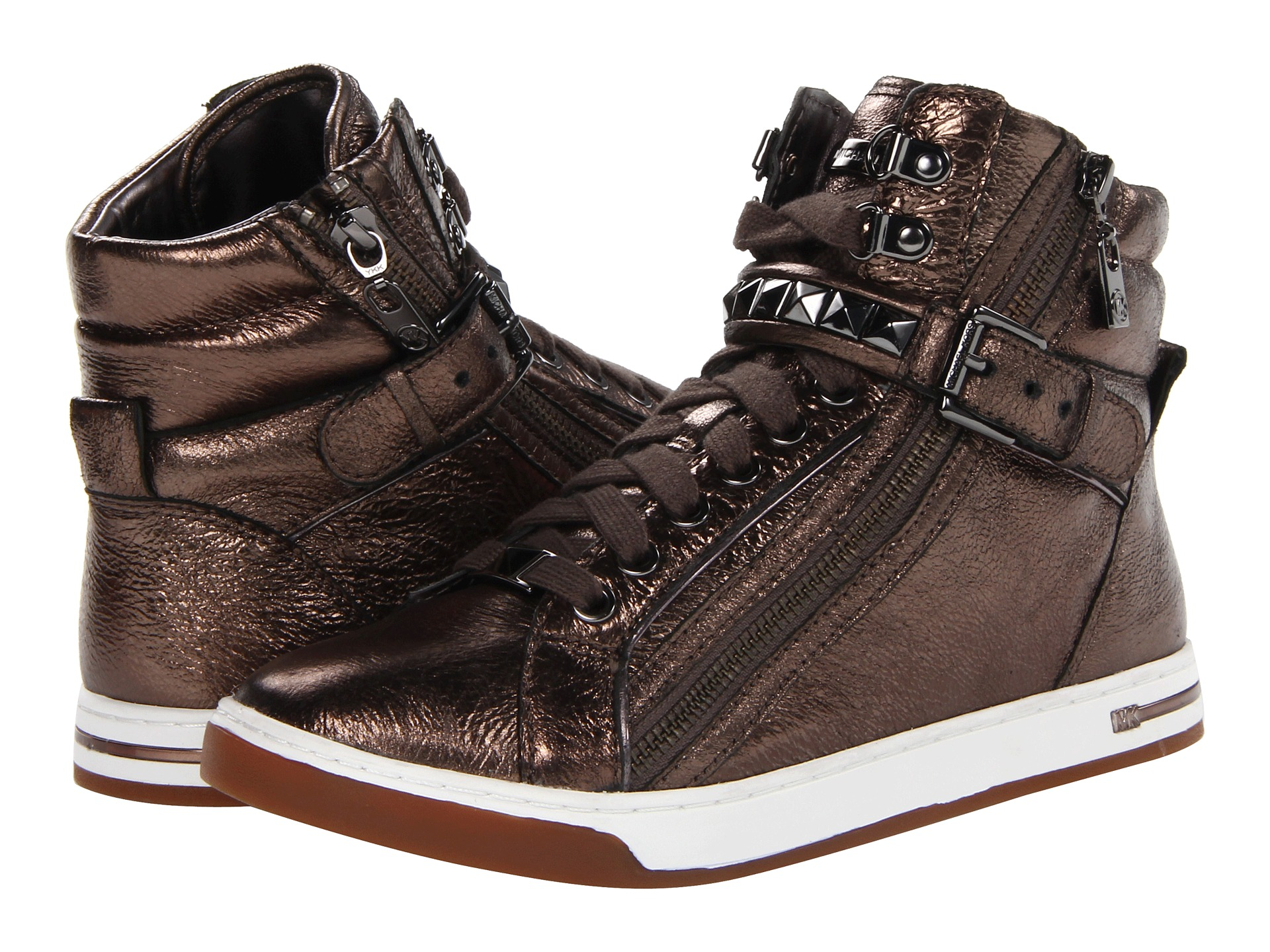 michael michael kors glam studded hi top shipped free at zappos. Black Bedroom Furniture Sets. Home Design Ideas