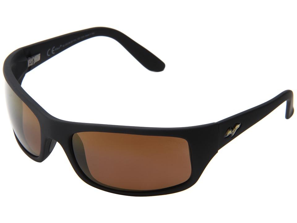 Maui Jim Peahi (Matte Black/HCL Bronze) Plastic Frame Sport Sunglasses