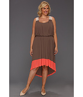 Jessica Simpson - Plus Size Pleated Colorblock Dress w/ Crisscross Back