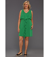 Jessica Simpson - Plus Size Popover Dress w/ Ruffle at Center Front